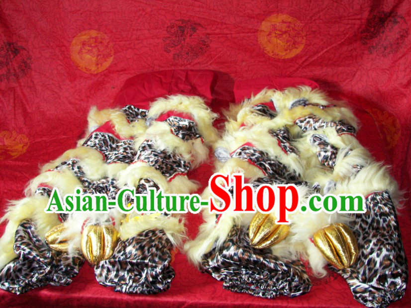 Leopard Pattern Chinese Festival Celebration Two Pairs of Lion Dance Pants and Shoes Covers