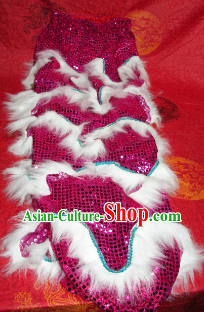Two Pairs of Traditional Chinese Imitation Wool Lion Dance Pants and Shoes Covers