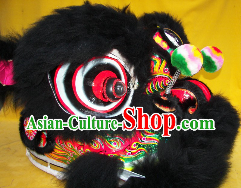 Professional Competition and Parade Black Wool Lion Dance Costumes Complete Set for Adults