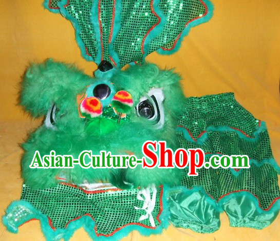 One Person Green Chinese New Year Parade Children Size Lion Dance Costumes for Children