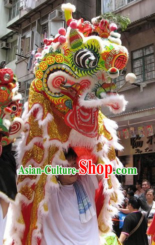 Traditional Chinese New Year Celebration Ancient Coins Kylin Dance Costumes Complete Set