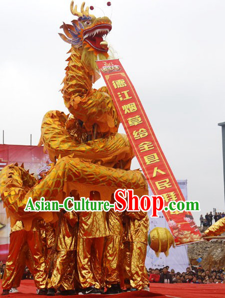Top Quality Gold Dragon Dance Costumes and Ten Dragon Dancer Uniforms Complete Set