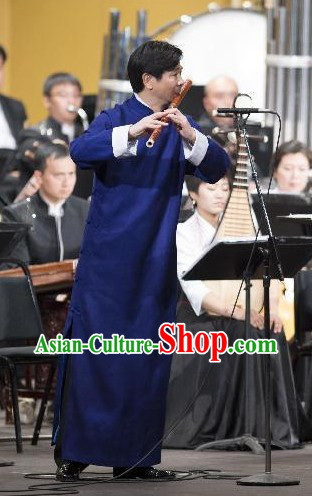Traditional Chinese Minguo Style Da Gua Blue Mandarin Robe for Men