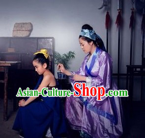 Ancient Chinese Hero Yue Fei and His Mother Costumes Two Sets