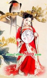 Ancient Chinese Stage Performance Hanfu Clothing Complete Set for Children