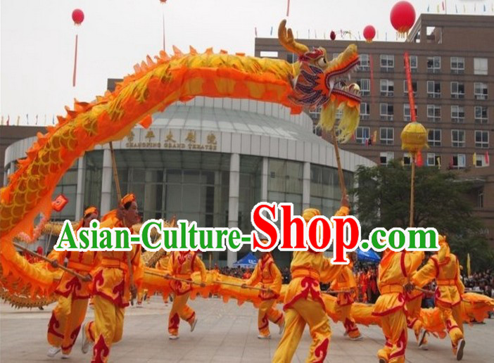 Free Worldwide Delivery 18 Meters Traditional Chinese Gold Dragon Dance Equipment Complete Set