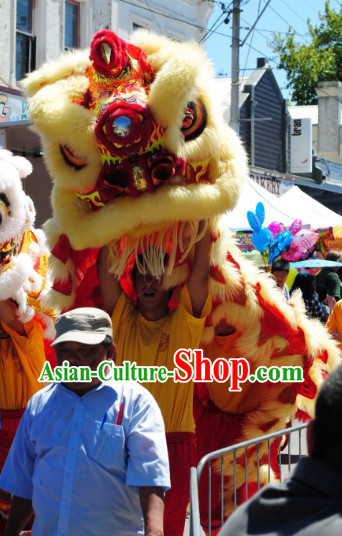 Traditional Fut San Type Long Wool Lion Dance Costumes Full Set