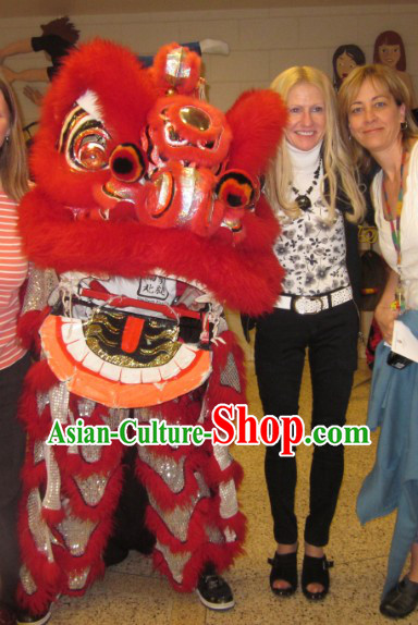Good Luck Traditional Fut San Long Wool Lion Dance Costume Full Set