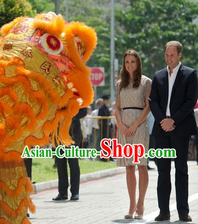 Supreme Traditional Long Wool Lion Dance Costumes Complete Set