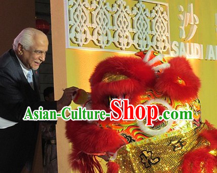 Red and Gold Fut San Lion Dancing Props Full Set