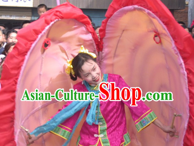 Chinese Lunar New Year Parade Clam Shell Dance Costumes and Prop Complete Set