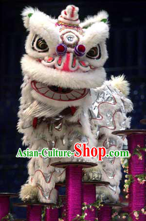 White Wool International Lion Dance Costumes Competition Complete Set