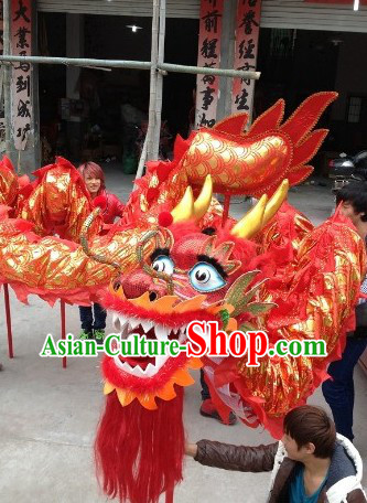 Festival Celebration Red and Gold Dragon Dance Costumes Complete Set