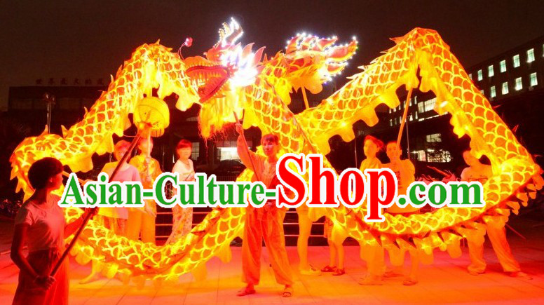 LED Lights Shinning Gold Dragon Dance Costumes Complete Set