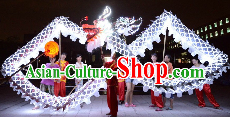 LED Lights Happy Festival Celebration Shinning Silver Dragon Dance Costumes Complete Set