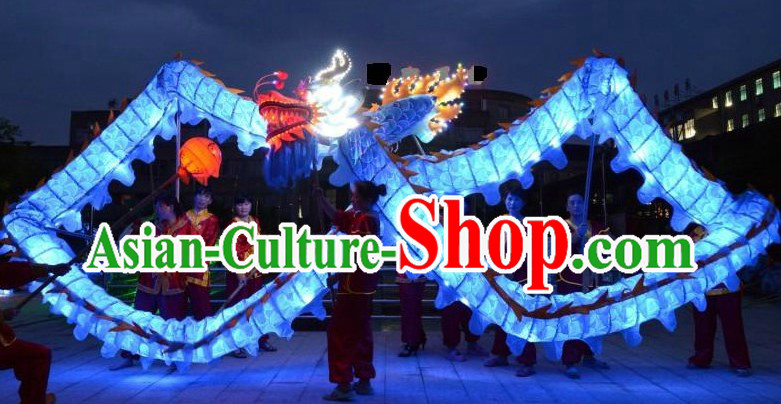 Luminous LED Parade and Celebration Blue Dragon Dance Costumes Complete Set