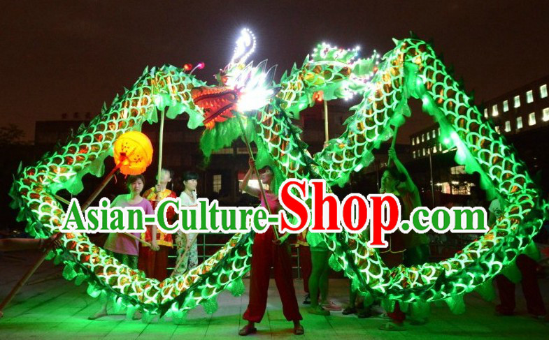 LED Lights Shinning Green Dragon Dance Costumes Complete Set