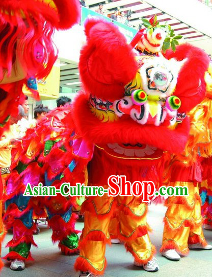 Lucky Red China Lunar New Year Performance Supreme Lion Dance Costume Complete Set