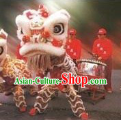 Supreme White and Red Fut San Lion Dance Costumes Complete Set