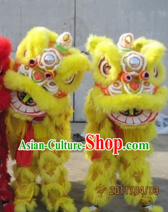 Supreme Yellow Fut San Lion Dance Costumes Complete Set