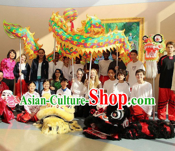 Professional Glow in the Dark Ultraviolet Dragon Dance Costumes Complete Set