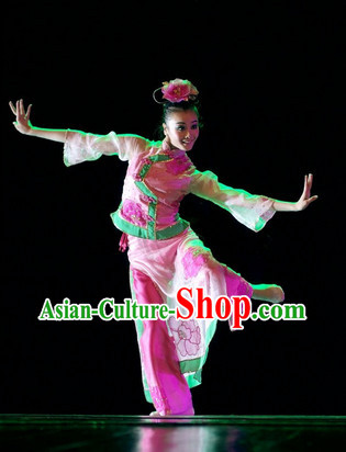 Traditional Chinese Classical Dancing Costume and Headwear Complete Set