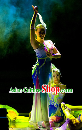 Classical Group Dance Costumes and Headwear Complete Set for Women