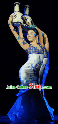 Classical Team Dance Costume and Headwear Complete Set for Women