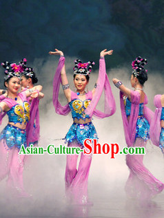 High School Classical Dance Team Costumes and Headwear Full Set for Girls