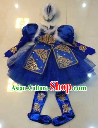 Chinese Folk Ethnic Mongolian Dance Costumes and Headwear for Women