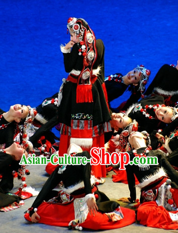 Chinese Folk Ethnic Tibetan Dance Costumes and Headwear for Women