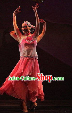 Asian Fan Dance Dress Rehearsal and Headwear Full Set