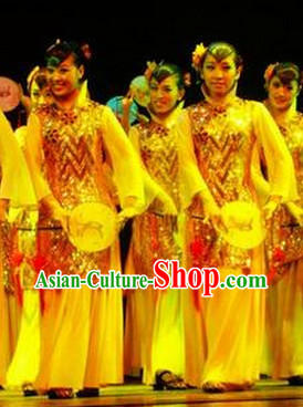 Chinese Classical Fan Group Dance Outfit for Women