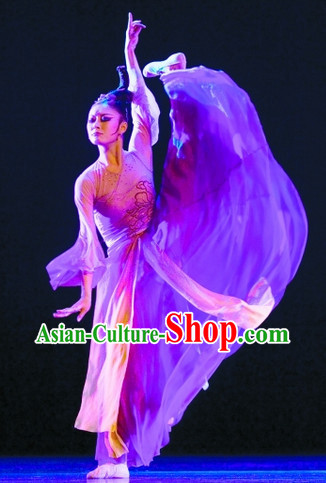 Chinese Classical Solo Dance Costumes and Headwear Complete Set