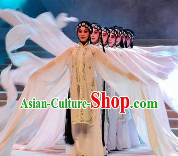 Chinese Classical Long Water Dance Costumes and Headwear Complete Set
