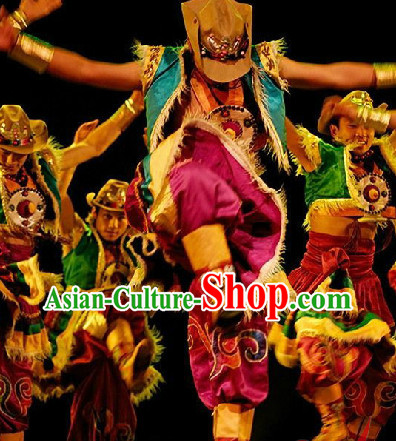 Tibetan Dancing Costume and Headdress Full Set for Women