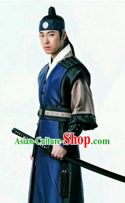 Ancient Korean Imperial Swordsman Hanbok and Headpiece Complete Set for Men