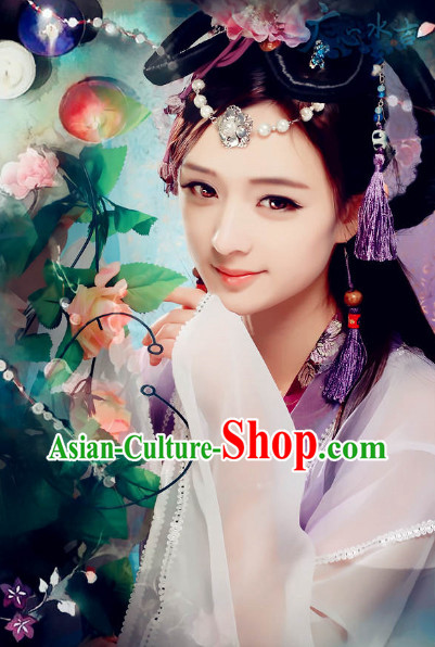 Ancient Chinese Fairy Dancewear and Headwear Complete Set