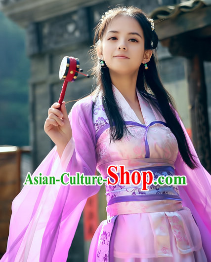 Chinese Purple Princess Cosplay Swordswoman Costumes Complete Set