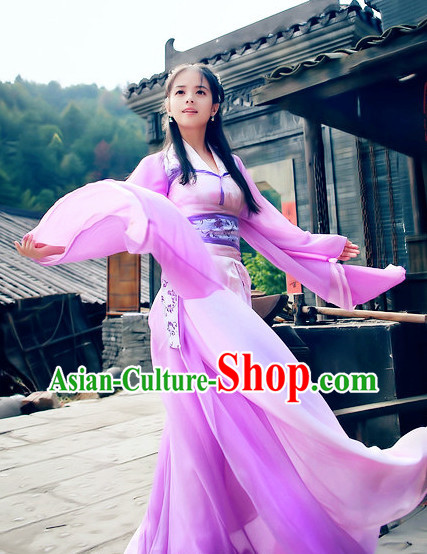 Ancient Asian Purple Fairy Clothes Complete Set