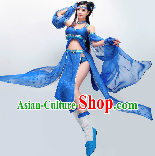 Chinese Blue Princess Cosplay Swordswoman Costumes Complete Set
