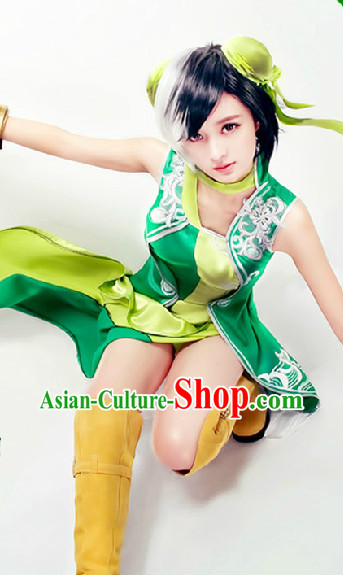 Chinese Green Yellow Princess Cosplay Costumes and Headwear Complete Set