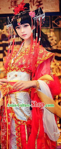 Chinese Red Bride Beauty Wedding Dresses and Hair Jewelry Complete Set