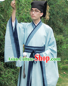 Traditional Chinese Han Fu Clothing and Hat Complete Set for Men