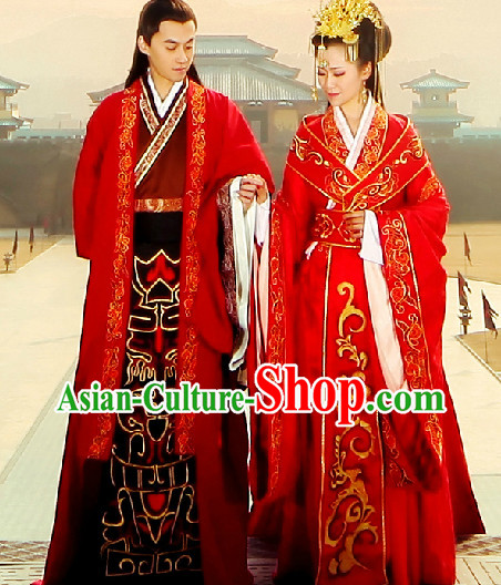 Traditional Chinese Wedding Dresses Two Complete Set for Brides and Bridegroom