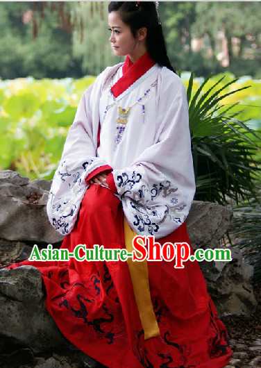 Ancient Chinese Ming Dynasty Embroidered Dragon Garments Complete Set for Women