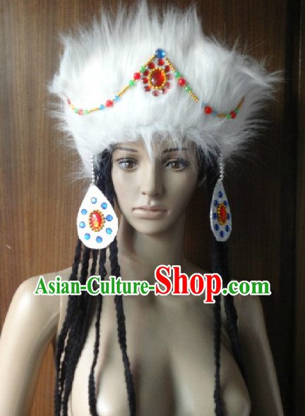 Professional Chinese Ethnic Tibetan Wig and Hat