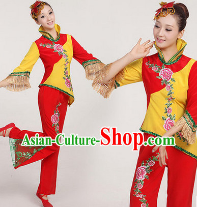 Professional Chinese Yang Ge Group Dancing Outfit Complete Set