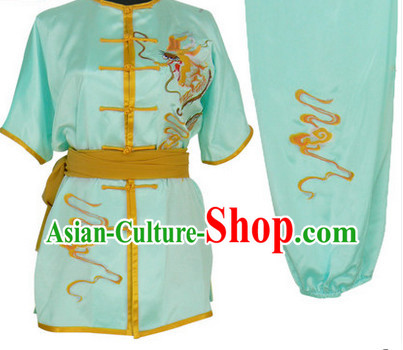 Light Blue Dragon Embroidery Wushu Suit Complete Set