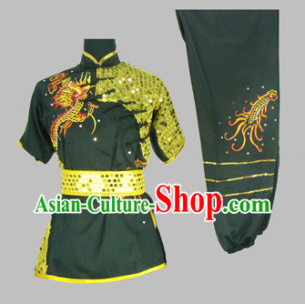 Chinese Classical Dragon Embroidery Kung Fu Dresses Full Set